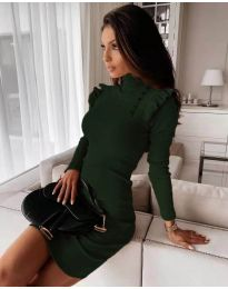 Елегантна рокля по тялото в тъмно зелено - код 8484