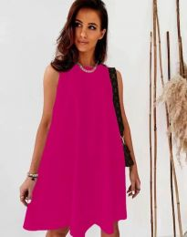 Свободна дамска рокля в цвят циклама - код 9862