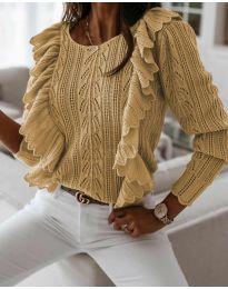 Дамски пуловер в цвят капучино - код 9087