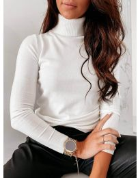 Дамска блуза с поло яка в бяло - код 8861