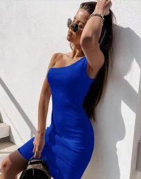 Вталена рокля в синьо с едно рамо - код 6412