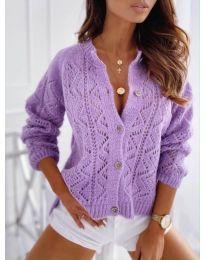 Къса дамска жилетка с копчета в лилаво - код 6533