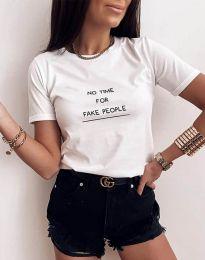 Тениска в бяло с моден принт - код 2279