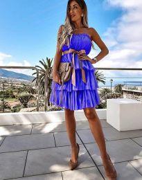 Кокетна дамска рокля в синьо с панделка - код 3065