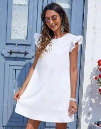 Къса дамска рокля в бяло - код 6261