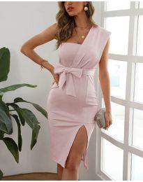 Елегантна рокля в цвят пудра - код 6153