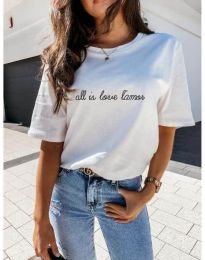 Дамска тениска с принт в бяло - код 36755