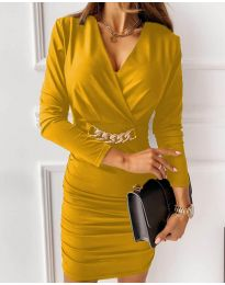 Дамска рокля в жълто - код 8999