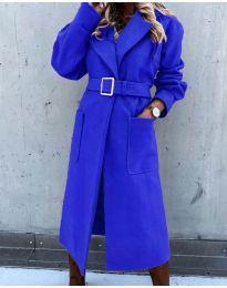 Дълго дамско палто с колан в синьо - код 423