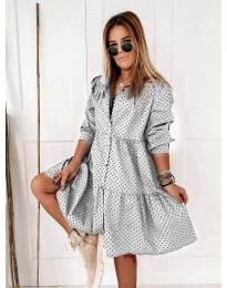 Свободна дамска рокля в бяло - код 5557