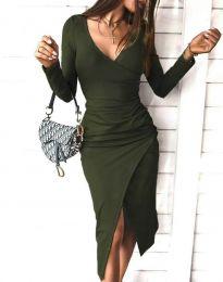 Стилна дамска рокля в масленозелено - код 4769