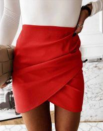 Дамска къса пола с висока талия в червено - код 4906
