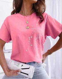 Дамска тениска в розово с принт - код 0401