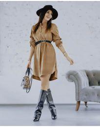 Дамска рокля в кафяво - код 9601