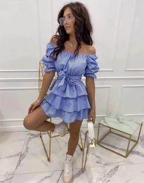 Кокетна разкроена рокля в светлосиньо - код 7874