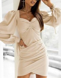Дамска рокля  в бежово - код 0363