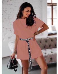 Изчистена дамска рокля в цвят пудра - код 809