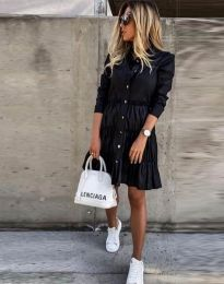 Разкроена дамска рокля в черно - код 1366