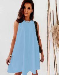 Свободна дамска рокля в светлосиньо - код 9862