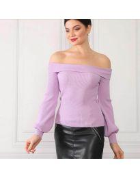 Дамска блуза с лодка деколте в лилаво - код 0247