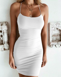 Изчистена рокля в бяло - код 9098