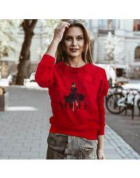 Дамска блуза с принт в червено - код 3995