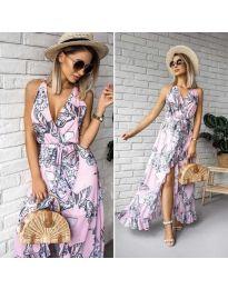 Дълга ефирна рокля с цепка в розово - код 617