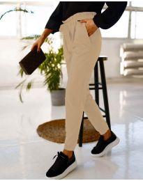 Дамски панталон в бежово - код 4750
