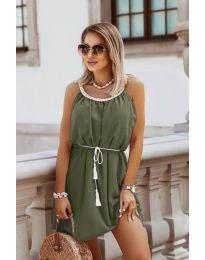 Изчистена рокля в маслено зелено - код 8800