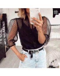 Дамска тюлена риза в черен цвят - код 968
