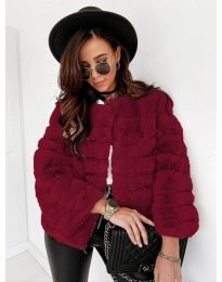 Дамско късо палто в бордо - код 7676