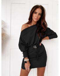 Дамска рокля в черно с голо рамо - код 4442