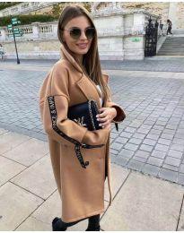 Дамско палто в кафяво - код 8757