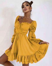 Стилна дамска рокля в цвят горчица - код 8469