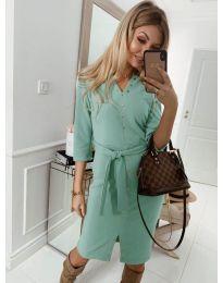 Ежедневна рокля с капси в зелено - код 320