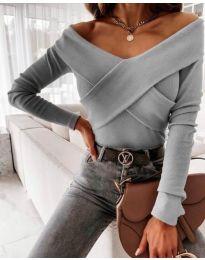 Екстравагантна дамска блуза в сиво - код 0308