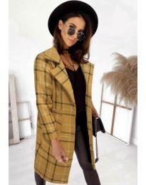 Свободно палто в цвят горчица - код 0800