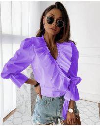 Изчистена дамска риза в лилаво - код 1167