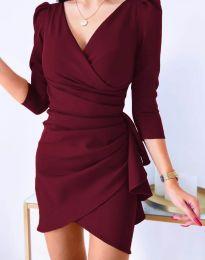 Елегантна рокля в цвят бордо - код 32897