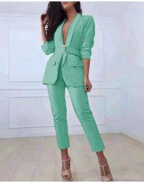 Комплект от сако и панталон в цвят мента - код 813