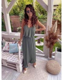 Дълга дамска рокля в маслено зелено - код 635