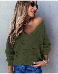 Дамска блуза в маслено зелено - код 137