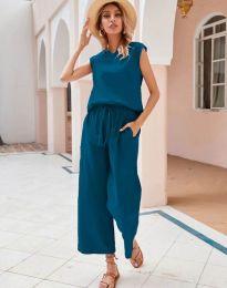 Дамски комплект потник и панталон в цвят тюркоаз - код 0881