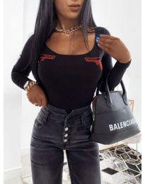 Дамска блуза в черно с принтове - код 4160