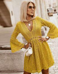 Елегантна рокля в цвят горчица - код 6239