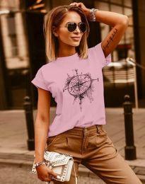 Тениска с ефектен принт в розово - код 3245