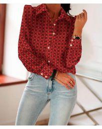Класическа риза в червено с ефектен десен - код 654