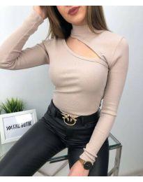 Атрактивна дамска блуза в бежово - код 6363