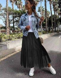 Разкроена дамска пола в цвят черно от тюл - код 1130