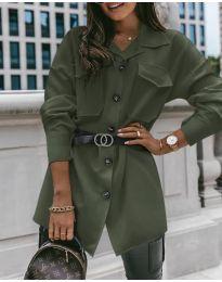 Дамска риза с колан в маслено зелено - код 4848